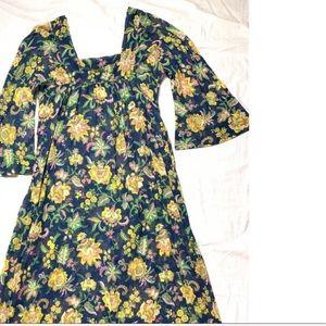 Vintage 1970s Floral Sheer Maxi Dress